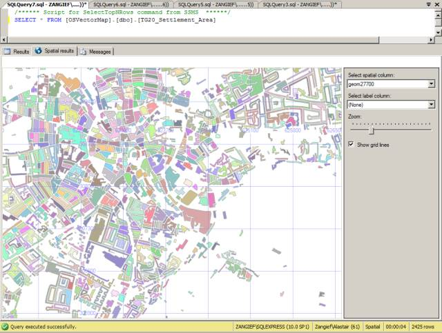 Norwich OS Map in SQL Server Management Studio