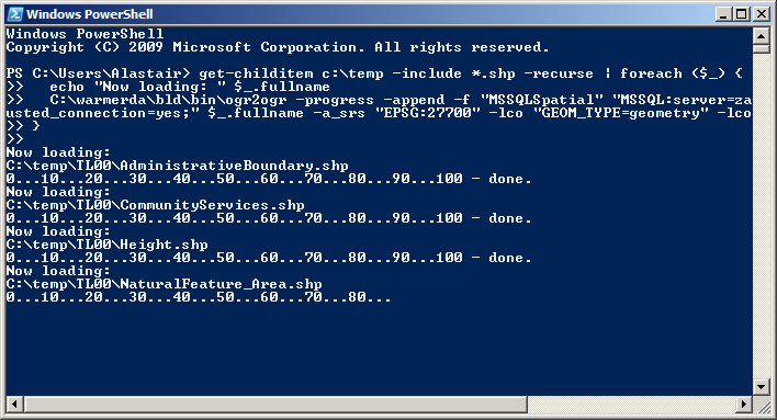 Loading OS VectorMap data to SQL Server with Powershell and OGR2OGR