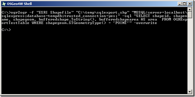 Exporting Spatial Data From SQL Server to ESRI Shapefile   Alastair