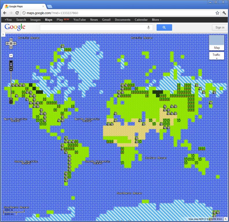 Google's April Fools' Day 8-bit Map   Alastair Aitchison