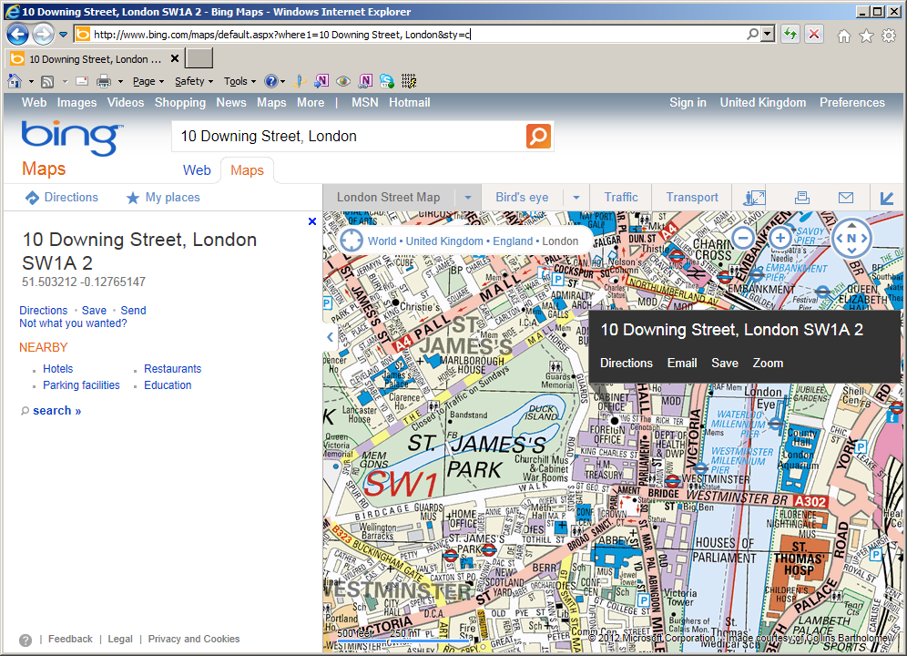 URL Parameters for the Bing Maps website | Alastair Aitchison