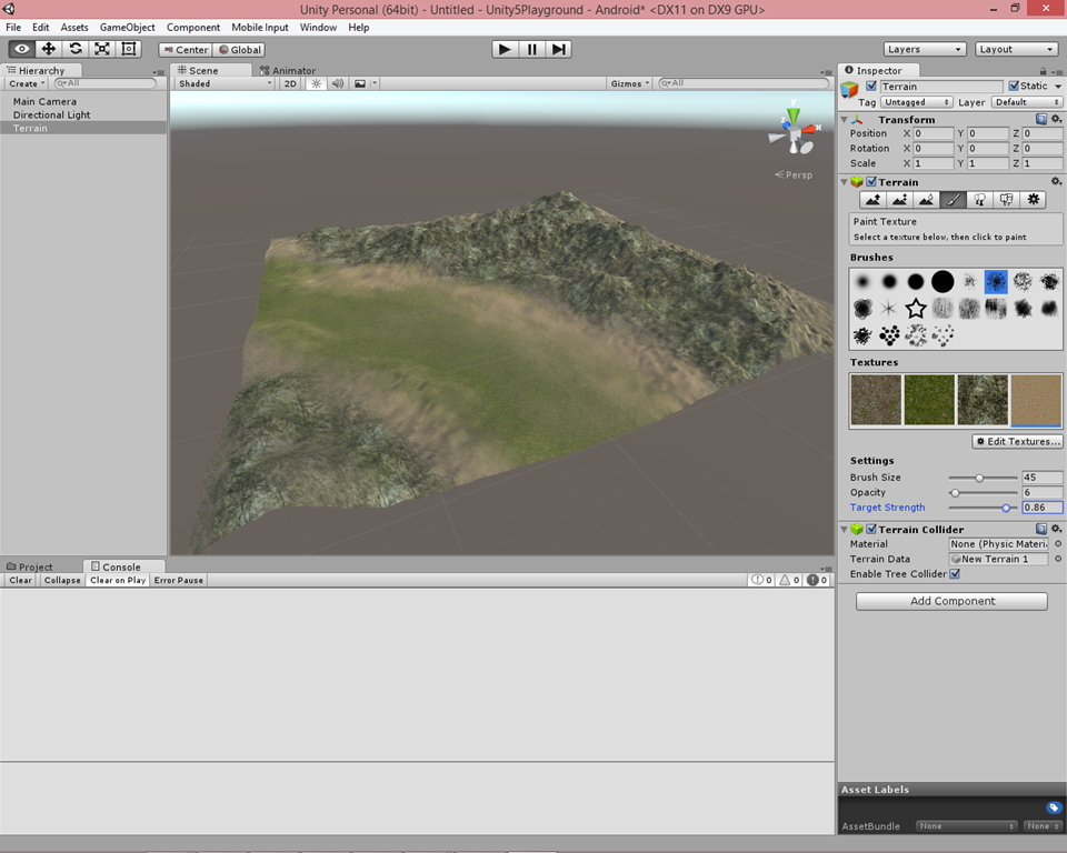 unity how to create terrain